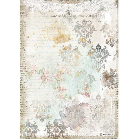 Stamperia riisipaperi Romantic Journal, Texture With Lace