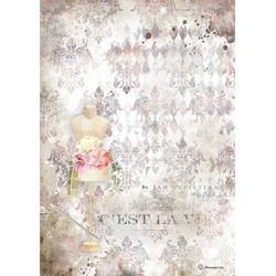 Stamperia riisipaperi Romantic Thread, Pink Mannequin