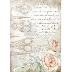 Stamperia riisipaperi Romantic Thread, Scissors and Roses