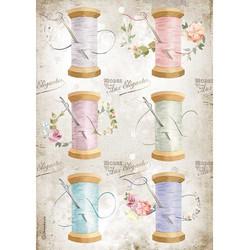 Stamperia riisipaperi Romantic Thread, Needle & Thread