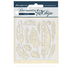 Stamperia Decorative Chips kuvioleikkeet Amazonia Feather