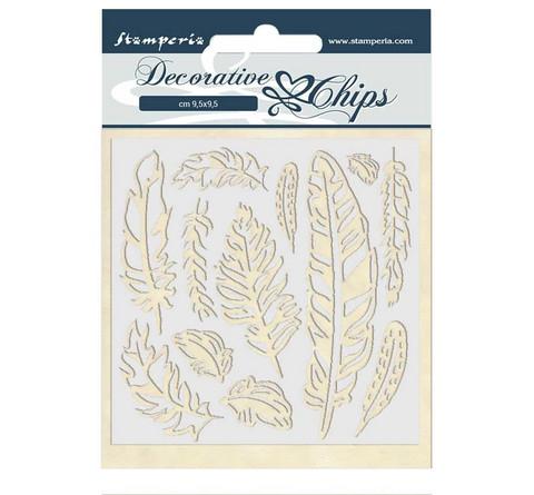 Stamperia Decorative Chips kuvioleikkeet Amazonia Feather
