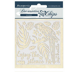 Stamperia Decorative Chips kuvioleikkeet Amazonia Parrot