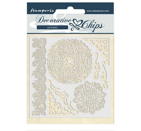 Stamperia Decorative Chips kuvioleikkeet Passion Laces and Corners