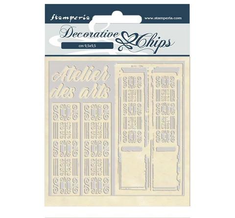 Stamperia Decorative Chips kuvioleikkeet Atelier des Arts Door