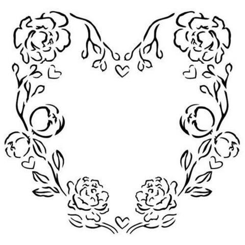 13@rts Mixed Media sapluuna Rose Heart
