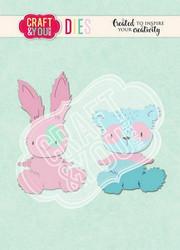 Craft & You stanssi Teddy Bear & Rabbit