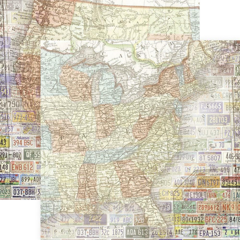 Paper House skräppipaperi United States Map