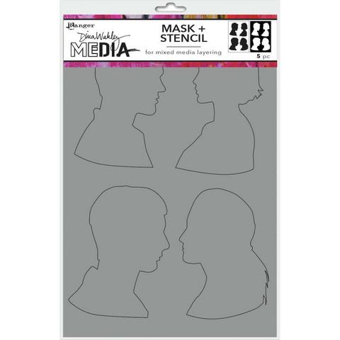 Dina Wakley Media sapluuna ja maski Profiles, 9