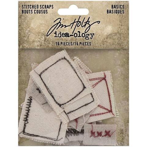 Tim Holtz Idea-Ology Stitched Scraps, 16 kpl
