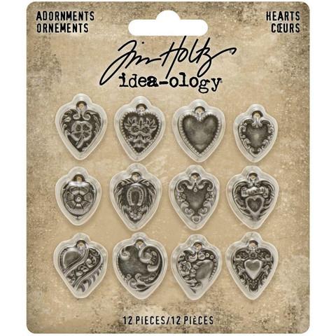 Tim Holtz Idea-Ology Metal Adornments -koristeet, Hearts