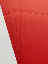 Korttipohja, Satin Pollen, punainen, 13.5 x 27 cm, 10 kpl