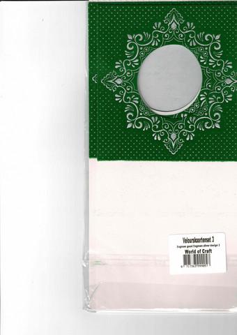 Korttipohja, Veluuri 3, vihreä, 13.5 x 27 cm, 4 kpl