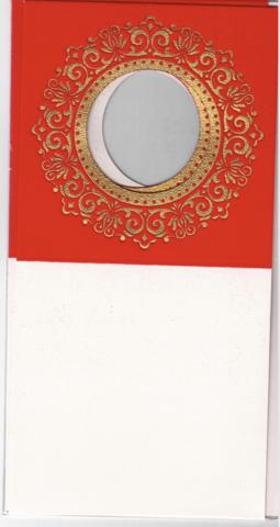 Korttipohja, Veluuri 11, punainen, 13.5 x 27 cm, 4 kpl