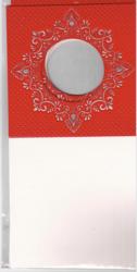 Korttipohja, Veluuri 12, punainen, 13.5 x 27 cm, 4 kpl