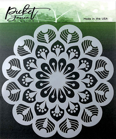 Picket Fence sapluuna Peacock Mandala