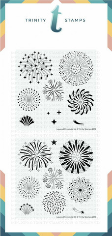 Trinity Stamps sapluunasetti Layered Fireworks, 6