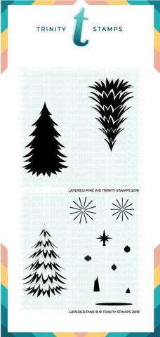 Trinity Stamps sapluunasetti Layered Pine Tree, 6