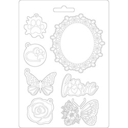 Stamperia Soft Mould -muotti Circle of Love Frame and Butterfly, A5