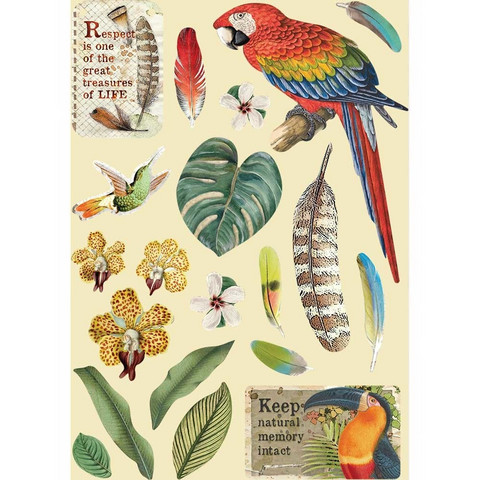 Stamperia Wooden Shapes -puukuviot Amazonia Parrot