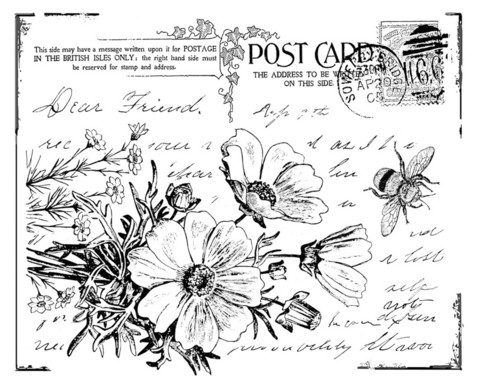 Crafty Individuals leimasin Floral Postcard