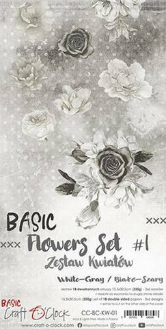 Craft O'clock paperipakkaus Basic Flowers Set 1, White-Grey