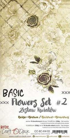 Craft O'clock paperipakkaus Basic Flowers Set 2, Beige-Brown