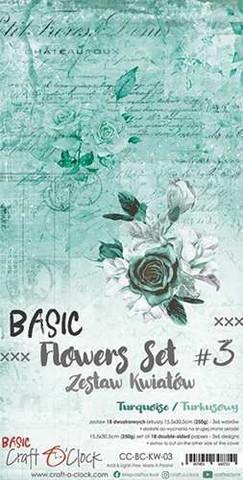 Craft O'clock paperipakkaus Basic Flowers Set 3, Turquise