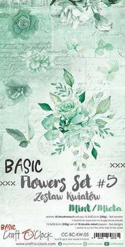 Craft O'clock paperipakkaus Basic Flowers Set 5, Mint
