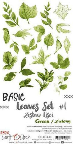Craft O'clock paperipakkaus Basic Leaves Set 1, Green