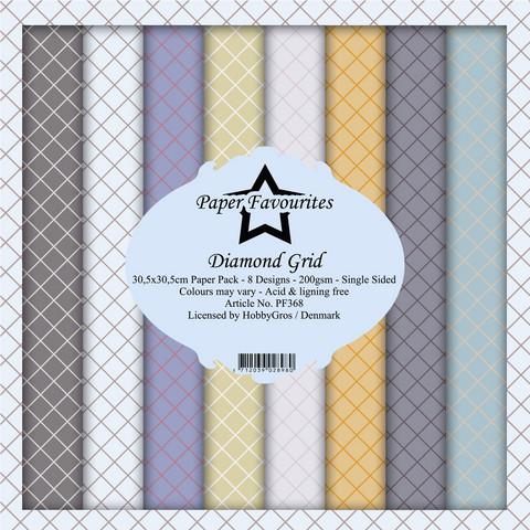 Paper Favourites Diamond Grid -paperipakkaus, 12