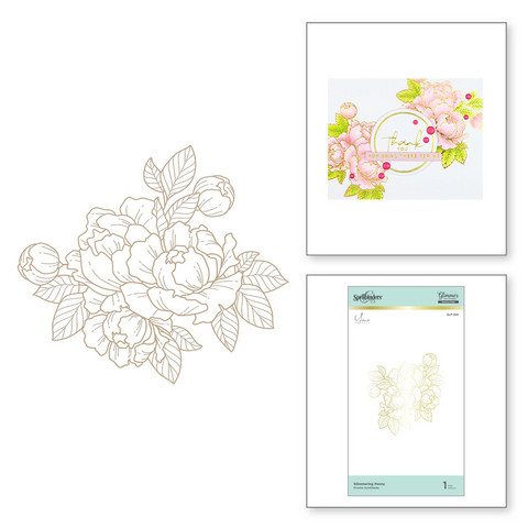 Spellbinders Glimmer Hot Foil -kuviolevy Glimmering Peony