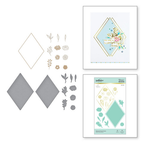 Spellbinders Glimmer Hot Foil -kuviolevy Diamond Floral Frame + stanssisetti