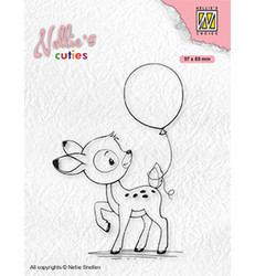 Nellie's Choice Cuties leimasin Young Deer With Balloon