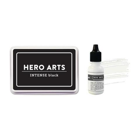 Hero Hues Dye Ink -mustetyyny, sävy Intense Black (musta) + täyttöpullo