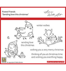 Nellie's Choice Forest Friends -leimasin Sending Love This Christmas