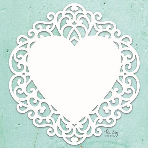 Mintay Chippies Decor -chipboard Fancy Heart