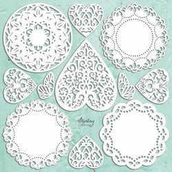 Mintay Chippies -chipboard Doilies -setti