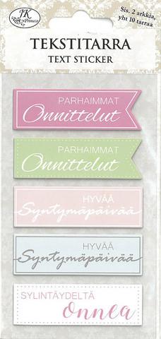 Tekstitarra Lajitelma, pastelli