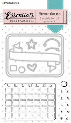 Studio Light leimasin- ja stanssisetti Stamp Planner Essentials Monthly Calendar