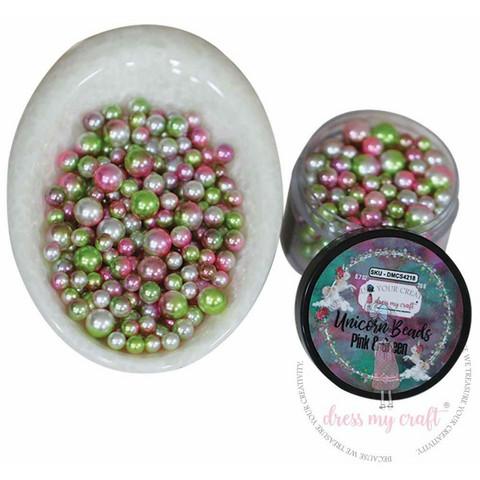 Dress My Craft Unicorn Beads -koristeet, Pink & Green