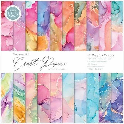 Craft Consortium paperipakkaus Ink Drops, Candy, 12