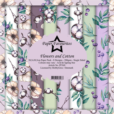 Paper Favourites Flowers and Cotton -paperipakkaus, 12