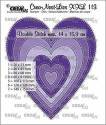 Crealies stanssi Slim Hearts with Double Stitch