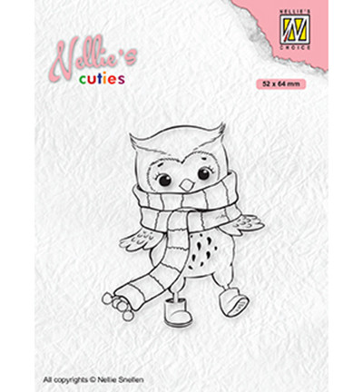 Nellie's Choice Cuties leimasin Owl With Winter Scarf