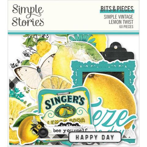 Simple Stories Simple Vintage Lemon Twist Bits & Pieces Die-Cuts, leikekuvat