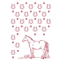 Stamperia sapluuna Romantic Horses, Horseshoes Pattern, A4