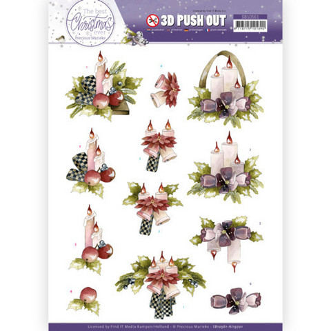 Precious Marieke The Best Christmas Ever 3D-kuvat Purple Flowers and Candles