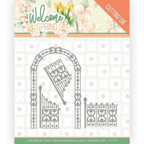 Jeanines Art Welcome Spring stanssi Arch and Fence