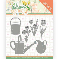 Jeanines Art Welcome Spring stanssi Watering Can and Bucket